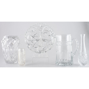 Cut Glass Pitcher, Vases and Bowl