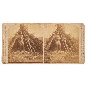 Sitting Bull's Deserted Tepee - Qu'Appelle, F. Jay Haynes Stereoview