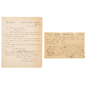Sitting Bull, Two Cipher Telegrams Ordering the Hunkpapa Sioux Leader's Arrest in 1890