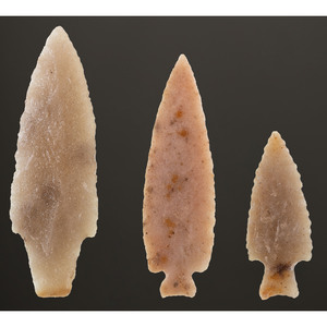 A Group of Adena Quartzite Points, Longest 4-1/2 in.