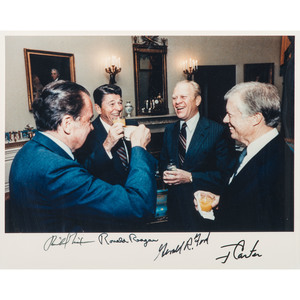 US Presidents Nixon, Ford, Carter, & Reagan, Signed Photograph