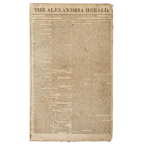 Alexandria Herald [Virginia], Bound Volume with Issues from First Year of Publication, 1811-1812, Incl. Runaway Slave Notices