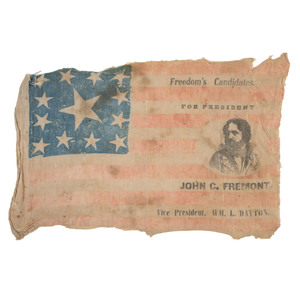 Rare John C. Fremont, Freedom's Candidate Campaign Flag with Portrait