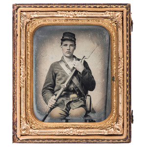 Sixth Plate Ambrotype of an Armed Ohio Soldier