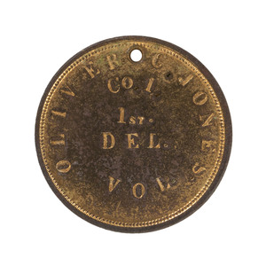 ID Disc of Oliver Jones, Co. I, 1st Delaware Infantry, Discovered Near the Union 2nd Corps Hospital Site at Gettysburg, Plus