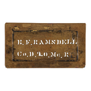 Brass ID Stencil Carried at Gettysburg by Benjamin F. Ramsdell, Co. D, 20th Maine Volunteer Infantry