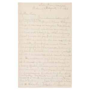 Prison Letter of Union General Charles K. Graham, Wounded at Gettysburg and Confined at Libby Prison, 1863