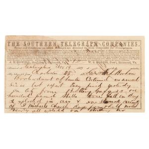 General P.G.T. Beauregard Telegram Regarding the Bombardment of Fort Sumter, 1863
