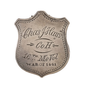Silver ID Pin of Charles J. Hays, 16th Maine Volunteers, Captured at Gettysburg and Imprisoned at Richmond