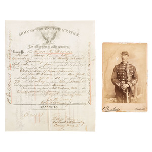 Indian Wars Discharge and Cabinet Photograph, John R. Brown, 6th US Cavalry, ca 1890s