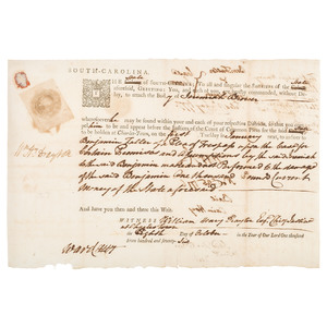 Revolutionary War-Era Arrest Warrant Signed by William H. Drayton, 1776