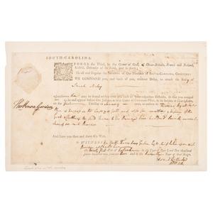 Edward Rutledge, Signer of the Declaration of Independence, Twice-Signed Sheriff's Directive,  1773