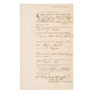Early Charleston, South Carolina Bill of Sale for