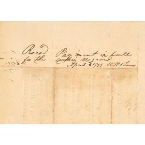 Early Charleston, South Carolina Bill of Sale for
