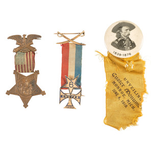 Captain Albert T. Henshaw, Co. H, 6th Michigan Cavalry, Custer Tuebor 14K Gold Badge, Plus
