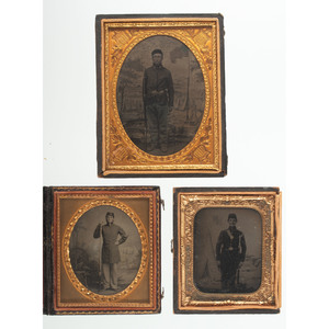 Three Cased Images of Armed Civil War Soldiers