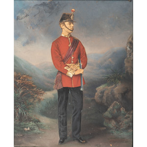 Oil Painted Photograph of British Officer, Ca 1870