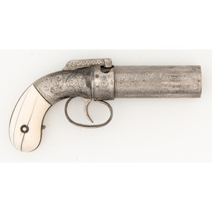 Allen's Patent Bar Hammer Pepperbox Revolver with Ivory Grips