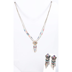 Southwestern Style Liquid Silver Necklace, Earings, and Bracelet