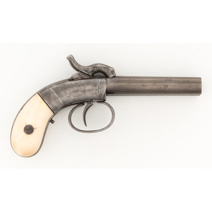 Allen and Thurber Double Barreled percussion Pistol with Ivory Grips