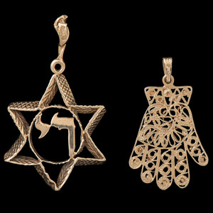 14k Gold Judaica Pendants, Lot of Two