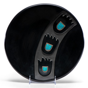 Virginia Ebelacker (Santa Clara, 1925-2001) Blackware Pottery Plaque, with Turquoise Cabochons, Property of the National Museum of Women in the Arts, Washington, D.C.