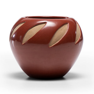 Virginia Ebelacker (Santa Clara, 1925-2001) Carved Redware Pottery Jar, Property of the National Museum of Women in the Arts, Washington, D.C.
