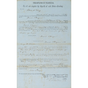 Florida Personal Property Writ Concerning Slaves, 1858
