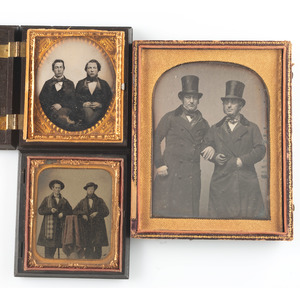 Lot of Three Cased Images Featuring Pairs of Men, Including Half Plate Daguerreotype of Two Men Wearing Top Hats and Coats