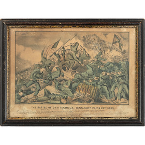 Lot of Five Prints Depicting Famous American Battle Scenes and Wartime Moments, Incl. Washington at Valley Forge Lithograph by Major & Knapp