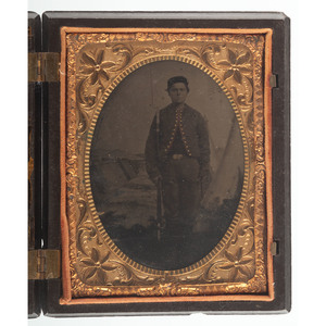 Quarter Plate Tintype of Civil War Zouave