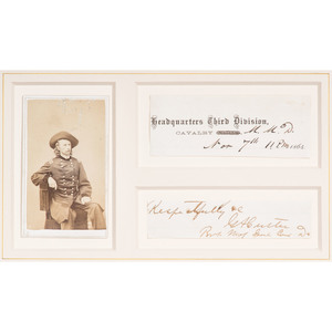George A. Custer Civil War-Era Signature with Rank, Plus CDV
