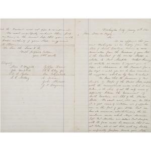 Jefferson Davis, Clerk-Signed Copy of Letter Addressing the Formation of