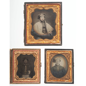 Civil War Ambrotypes and Tintype of Soldiers, Possibly Early New England Volunteers