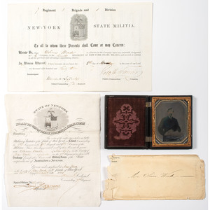 New York State Militia Private Oliver Wade, Appointment and Discharge Papers Plus Civilian Ruby Ambrotype