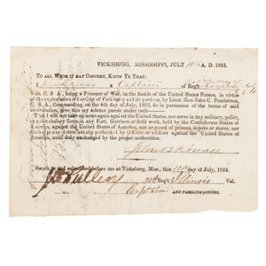 Vicksburg Parole Issued to Captain John B. Rowan, 3rd Maryland Light Artillery, 1863