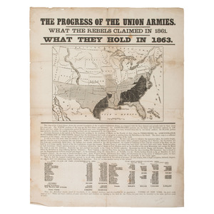 Civil War Illustrated Broadside, The Progress of the Union Armies, 1863
