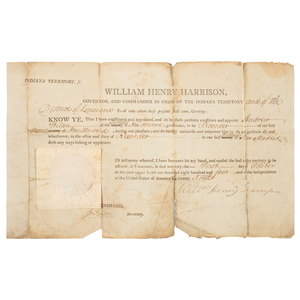 Scarce 1804 Certificate of Appointment, Signed by William Henry Harrison, Governor of Indiana Territory and District of Louisiana