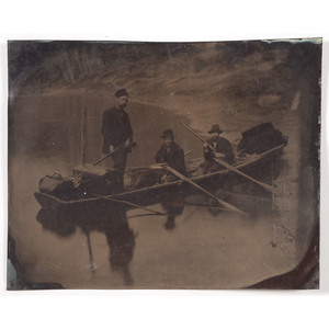 Half Plate Tintype of Hunters in Punt-Type Boat