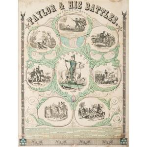 President Zachary Taylor, Taylor & His Battles Engraving, Ca 1847