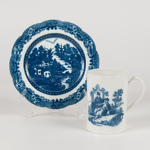Caughley Blue and White Mug and Plate