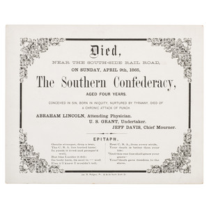 Civil War Satirical Broadside Death Certificate of The Southern Confederacy, 1865