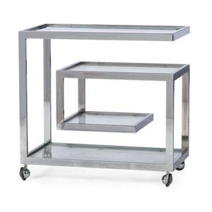 A Mid-Century-Modern Glass and Chrome Bar Cart