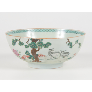 Chinese Export Famille Rose Bowl with Goats