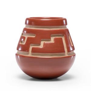 LuAnn Tafoya (Santa Clara, b. 1938) Redware Carved Jar