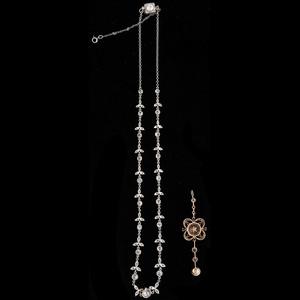 Edwardian Platinum Diamond Necklace with Detachable Pendant