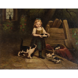 Oil on Board, Girl with Kittens