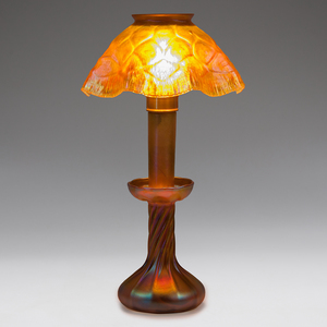 Fine Tiffany Iridescent Candle Lamp with Honeycomb Shade