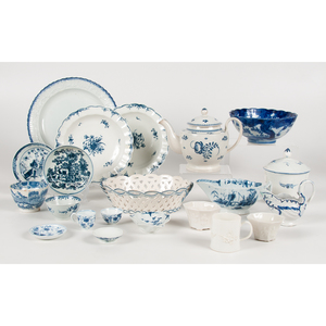 English Blue and White Porcelain, Including 18th Century, Plus