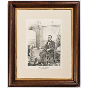 Lithograph of Abraham Lincoln Writing the Emancipation Proclamation